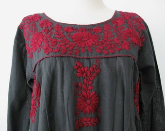 Mexican Embroidered Dress Cotton Long Sleeve Tunic, Boho Dress, Hippie Dress