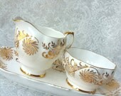 QUEEN ANNE Stunning Pinewheel Gold Fine Bone China Vintage Sugar and Creamer with tray,  vintage wedding, shabby chic