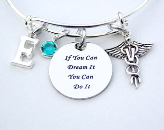 If You Can Dream It You Can Do It, Veterinarian Emblem, Adjustable Bracelet, Personalize, Initial, Birthstone , Graduation Gift , ST 206