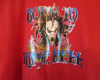 Vintage 80s 1981 Novelty Red T Shirt Born To Raise Hell Glitter graphics  XL