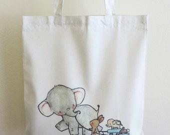 Cute Elephant and His Friends Tote Bag, Rabbit Tote Bag, Reusable Handbag