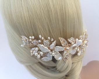 Crystal and Pearl Gold Bridal Hair Comb/Hairclip Set, Wedding Hair Comb, Freshwater Pearl, Crystal Hair Comb, Bridal Headpiece