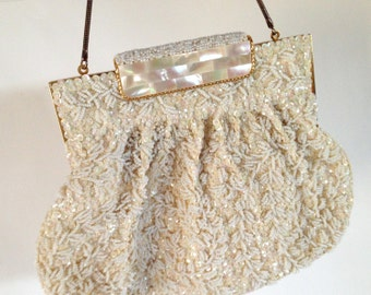 Vintage Ivory Pearl Beaded Evening Bag, Bridal Purse, Clutch, Bridal Clutch