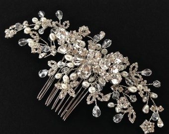 Couture Crystal and Pearl Bridal Hair Comb, Swarovski Crystal,  Freshwater Pearl, Wedding Hair Comb,  Crystal Hair Comb, Bridal Headpiece,