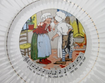 Vintage French Childrens Song Decorative Plate, Sarreguemines France