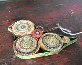 Handmade Rolled Magazine Art Bird Ornament Decoration