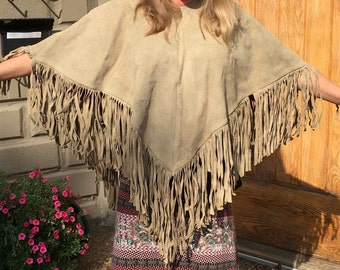 Leather Suede Fringed Poncho 1970's