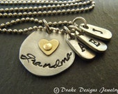 Mixed metal grandma necklace personalized grandma gifts grandmother necklace