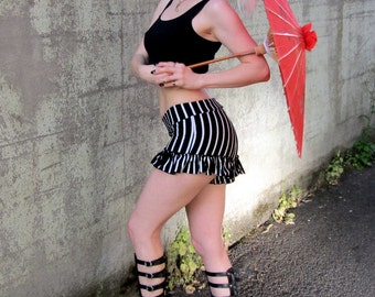 Striped Ruffle Shorts ~ Roller Derby Booty Shorts ~ Rave Shorts ~ Striped Bloomers ~ Circus Festival Burning Man Hooping Yoga