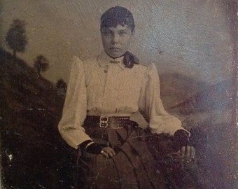 Antique tintype photo photograph tin type beautiful young woman dark haired beauty exotic ethnic steampunk Victorian collectible photography