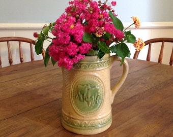 Antique yellowware pitcher pottery yellow ware stoneware salt glazed green tan embossed cow farmhouse centerpiece country kitchen home decor