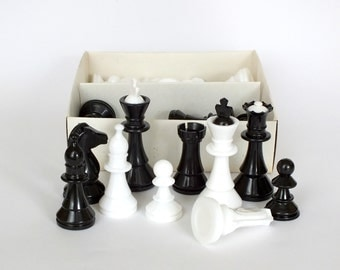 Russian vintage plastic chess. NOS full set chess from Soviet times in an original box. Table game chess with original tag. Great gift idea.