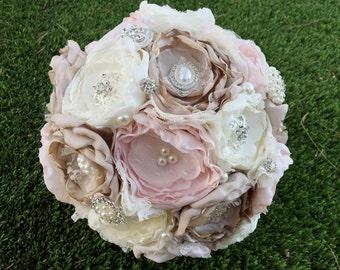 Fabric bouquet, blush fabric bouquet, vintage inspired bride bouquet , brooche bouqhet