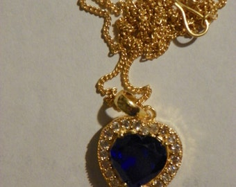 4 Carat Blue Sapphire Heart Necklace Pendant 17 Inches 14 KT Gold  Over Sterling Silver