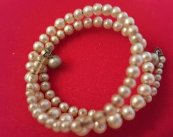 Vintage Child's Faux Pearl Triple Strand Stretch Bracelet -(4952)