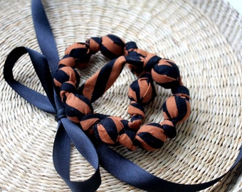 Fabric Necklace,Teething Necklace, Chomping Necklace, Nursing Necklace - Black and Mocha Stripe