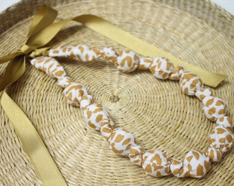 Fabric Necklace,Teething Necklace, Chomping Necklace, Nursing Necklace - Gold Spots