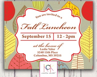 Custom Fall Luncheon, Meet and Greet, Reception, Save the Date, Shower Invitation - Digital File - DIY Printing - Brown, Red, Green