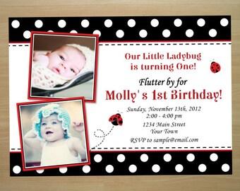 Ladybug 1st Birthday Photo Invitation - Digital File (Printing Services Available)
