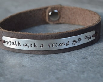 Leather and Sterling Bracelet Reclaimed Leather Walk with a friend Reclaimed Silver Eco Friendly Pet Lovers Animal Lovers Dog Lovers