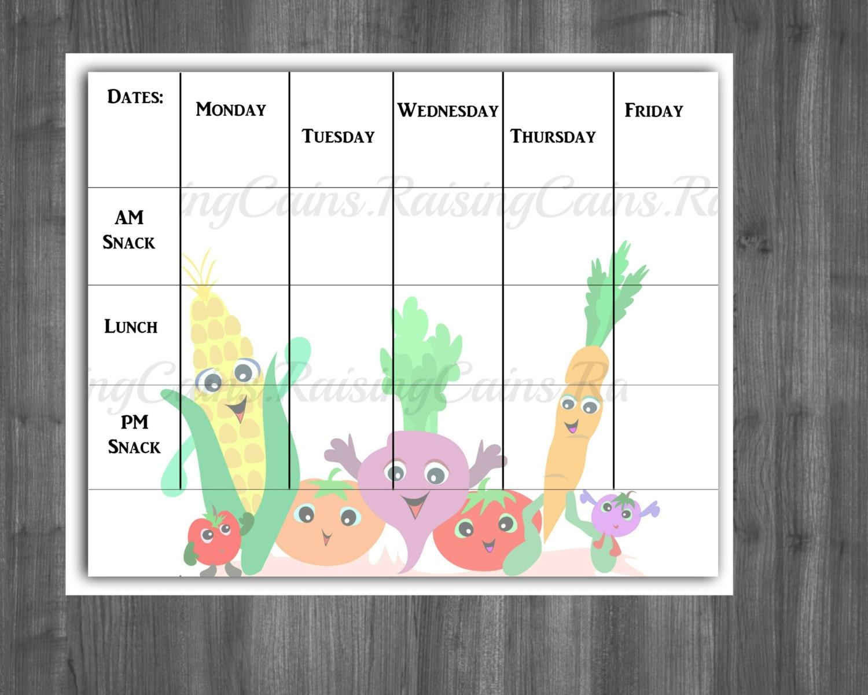 daycare menu template word