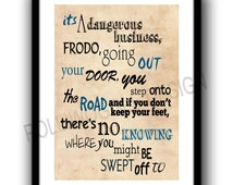 Lord of the rings, Frodo, Bilbo Baggins, Fan Art print poster, Typography poster