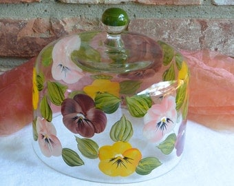 Dessert Cover - Painted Glass, Colorful Pansies, Artist Signed - Vintage - Gorgeous!