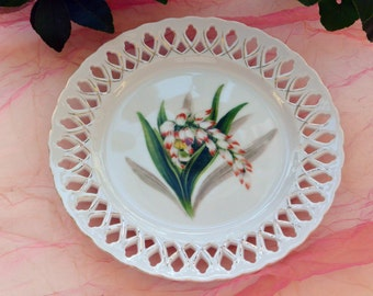 1950's Painted Bone China Plate - Forget Me Not, Rosetti Chicago - Vintage - Beautiful!