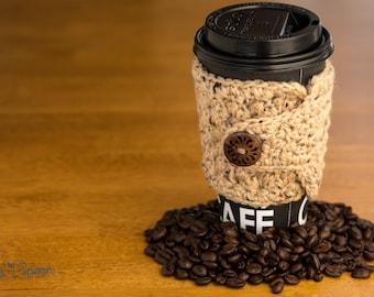 Beige crochet cup cozy, crochet mug cozy, coffee gift, office gift