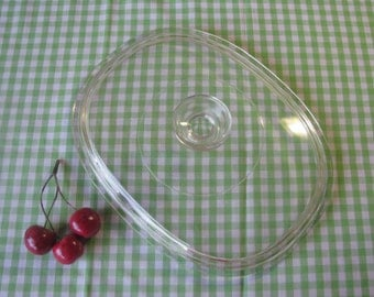 Pyrex Lid #F 12 C - Clear Glass - Oval - Replacement - Vintage  1970's