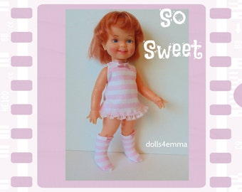 Vintage Ideal CINNAMON Doll CLOTHES - Retro Dress and Mod Boots pink stripes - Handmade Custom Fashion - by dolls4emma