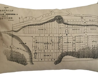 Irondale Vintage Map Pillow - FREE SHIPPING