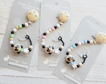Pacifier clip, beaded pacifier clip, pacifier holder, custom pacifier clip, panda pacifier clip, pacifier chain, unisex, panda baby gift