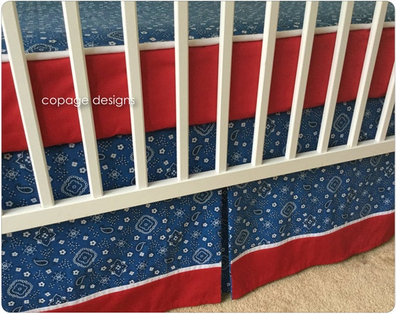 Bumperless bedding 2 pc set red white and blue bandana - Red white and blue sheets ...