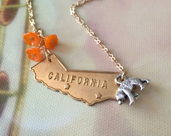 California Love Necklace, California Necklace, California Jewelry, California State Necklace, California Poppy Charms, CA Bear Necklace