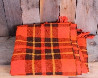 Vintage Plaid Fall Color Orange Brown and Yellow Wool Fringed Camp Blanket