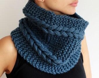 Blue Colour Hand Knit Chunky Cowl Neckwarmer Unisex Men Women Wool Collar Winter Fashion gift for her him