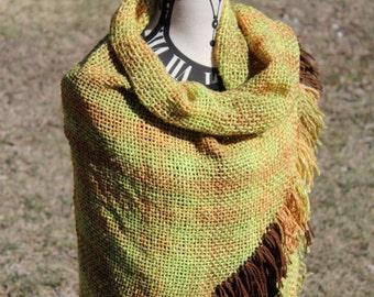 Green Shawl - Green Shawl Wrap Shawl - Fall Accessory - Woven Shawl Scarf