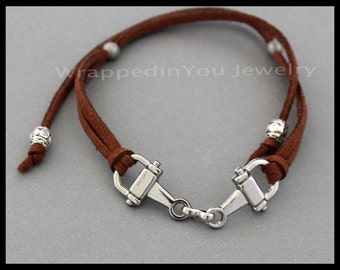 """HORSE Bracelet - Horse Snaffle Bit Charm Bracelet - Silver EQUESTRIAN Charm / 15"""" or 32"""" Long Faux Suede Cord Charm Jewelry Gift - USA - sc"""