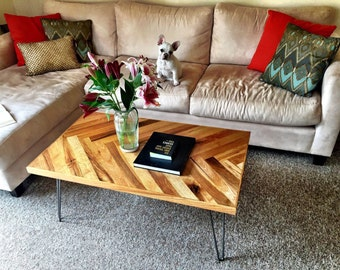 Custom mid century modern herringbone coffee table