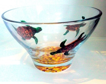 Glass Bowl hand painted with Turtles