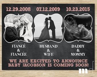 Chalkboard Pregnancy Announcement, Baby Announcement, Facebook Pregnancy Announcement with Dates, Coral, Blush, Pink, PRINTABLE DIGITAL FILE