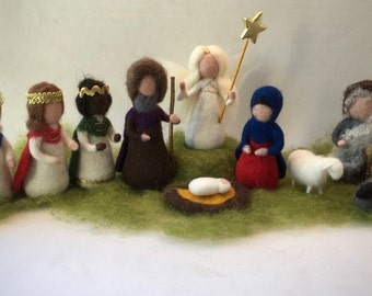 Wet  felted  Nativity Set. Waldorf .10 pieces.Christmas.