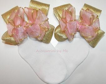 Blush Pink Bow Socks, Pink Gold Socks, Frilly Organza Metallic Bow Socks, Baby Girls Socks, Toddler Pageant Socks, Wedding Flower Girl Socks