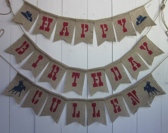 Red Cowboy Birthday Banner - Red Country Western Birthday Bunting - Cowboy/Cowgirl Rodeo Birthday Photo Prop Decor Sign Garland Backdrop