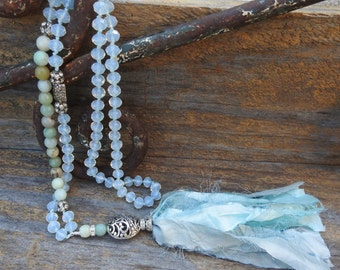 Silk tassel necklace Knotted silk necklace Romantic necklace Vintage necklace Long Boho necklace