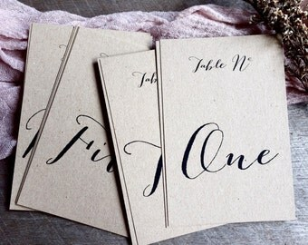 Kraft Table Number Cards, Table Numbers, Table Number Cards, Wedding Table Numbers, Wedding Table Number Cards, Table Numbers for Wedding