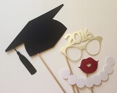 2017 Now Available Graduation Photo Booth Props . Graduation . Class of 2016 . Glitter and Metallic . Silver . Set of 4