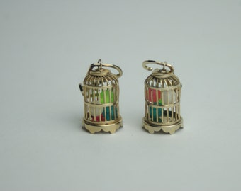 Unique Birdcage Screwback Earrings with Colored Balls