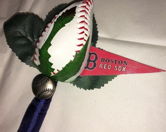 Boston Red Sox Baseball Rose Boutineer - Baseball Wedding Theme